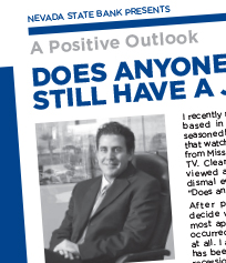 Cover, Nevada State Bank A Positive Outlook